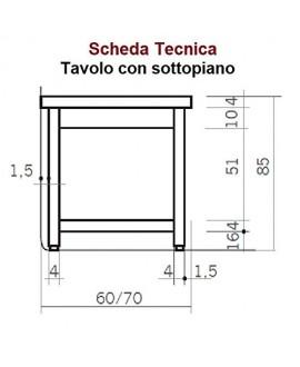TAVOLO DA LAVORO CON SOTTOPIANO - PROFONDITÀ 60 - Acciaio Inox AISI 304