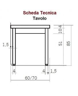 TAVOLO - PROFONDITÀ 70 - Acciaio Inox AISI 304