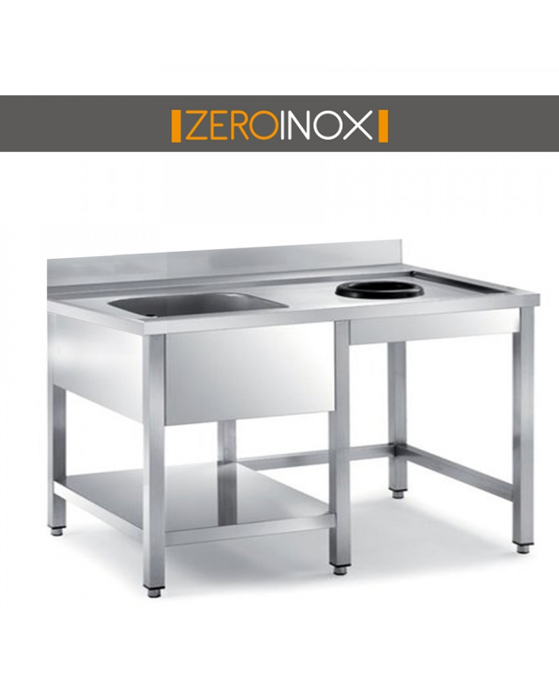 Tavolo cernita con vasca e foro profondita 70 acciaio inox for Arredo inox