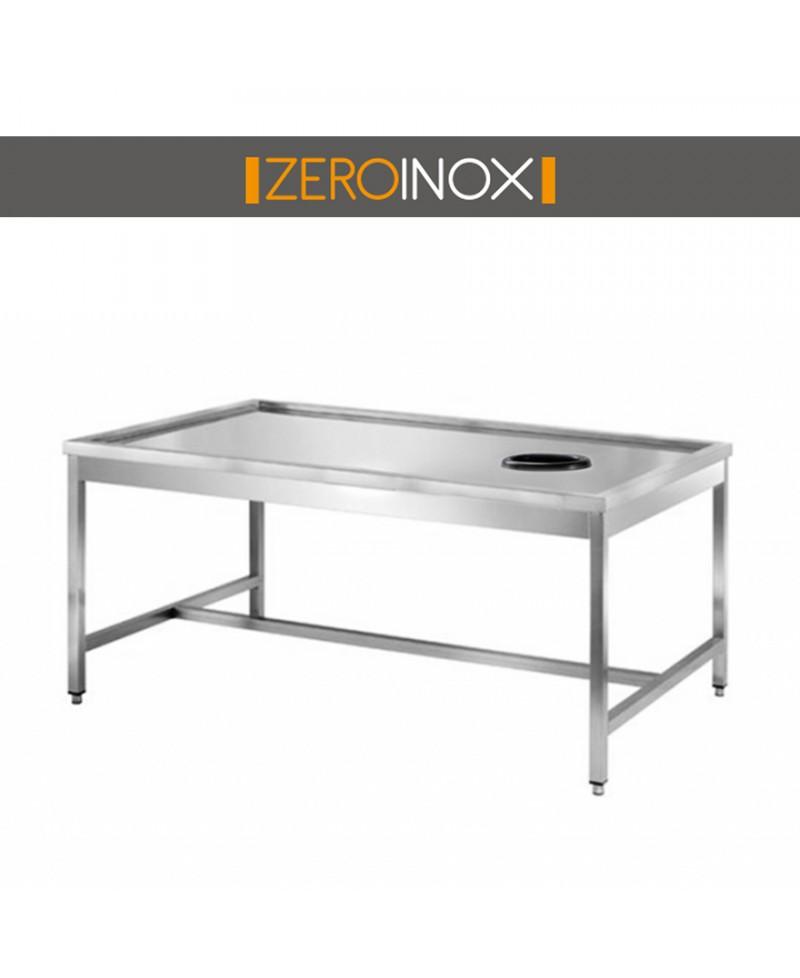 Tavolo cernita con foro profondita 70 acciaio inox aisi 304 for Arredo inox