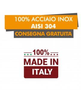 LAVATOIO ARMADIATO 2 VASCHE E 2 GOCCIOLATOI - PROFONDITÀ 70 - Acciaio Inox AISI 304